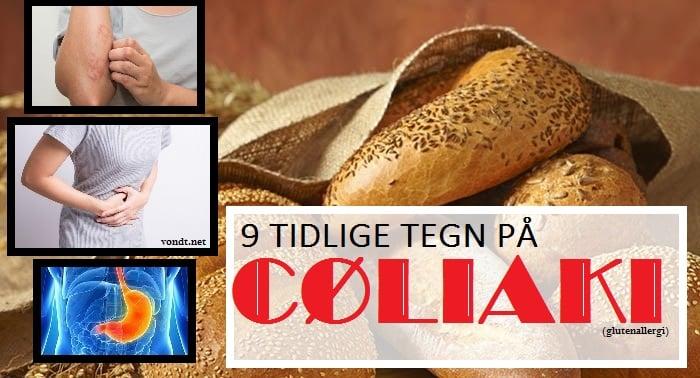 tidlige tegn coeliaki og glutenallergi